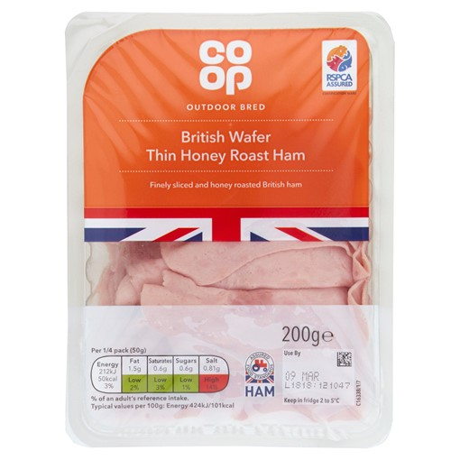 Picture of Co-op British Wafer Thin Honey Roast Ham 200g