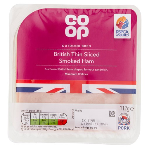 Picture of Co-op British Thin Sliced Smoked Ham 112g