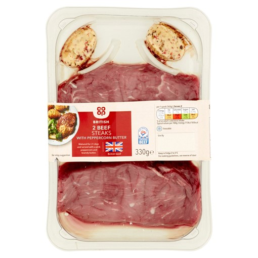 Picture of Co-op British 2 Beef Steaks with Peppercorn Butter 330g