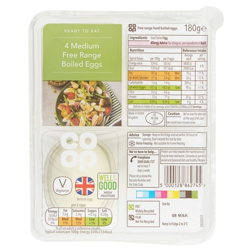 Picture of Co-op 4 Medium Free Range Boiled Eggs 180g