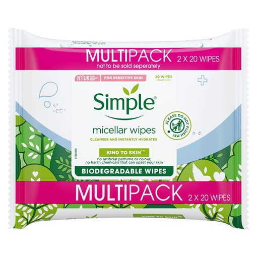 Picture of Simple Kind to Skin Micellar Biodegradable Cleansing Wipes 2 x 20 wipes