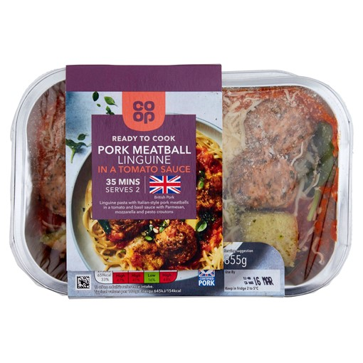 Picture of Co-op Pork Meatball Linguine in a Tomato Sauce 855g