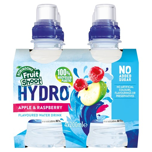 Picture of Robinsons Fruit Shoot Hydro Apple and Raspberry Flavoured Water Drink 4 x 200ml