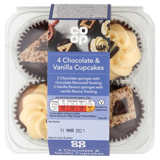 Picture of Co-op 4 Chocolate & Vanilla Cupcakes