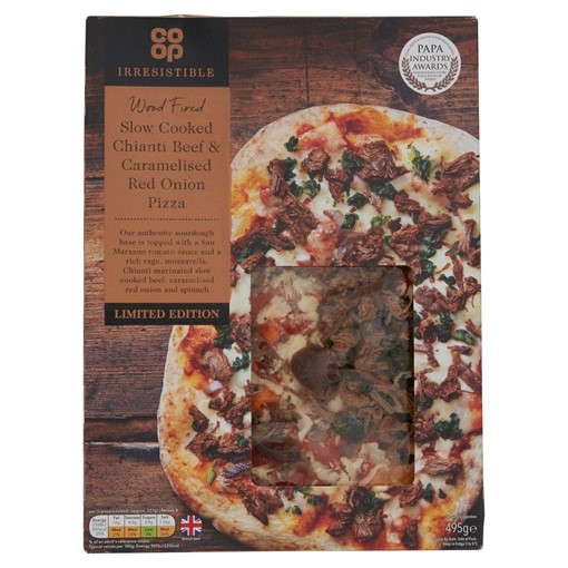 Picture of Co-op Irresistible Limited Edition Slow Cooked Chianti Beef & Caramelised Red Onion Pizza 495g