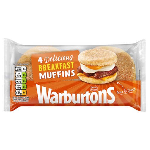 Picture of Warburtons 4 English Breakfast Muffins