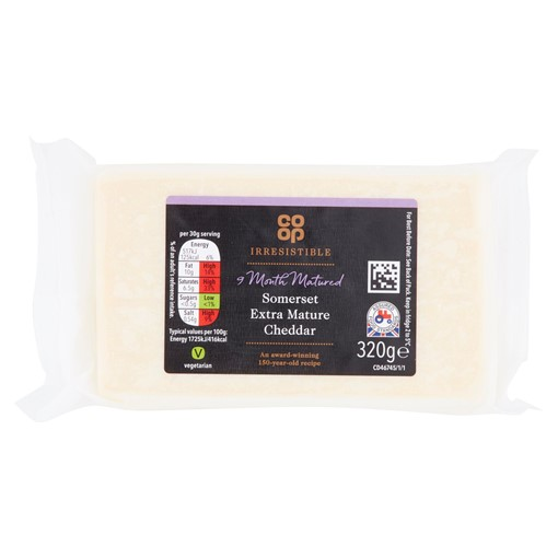 Picture of Co Op Irresistible Wyke Farms Somerset Extra Mature Cheddar 320g