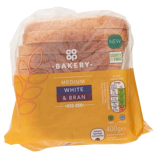 Picture of Co-op Bakery Medium White & Bran 400g