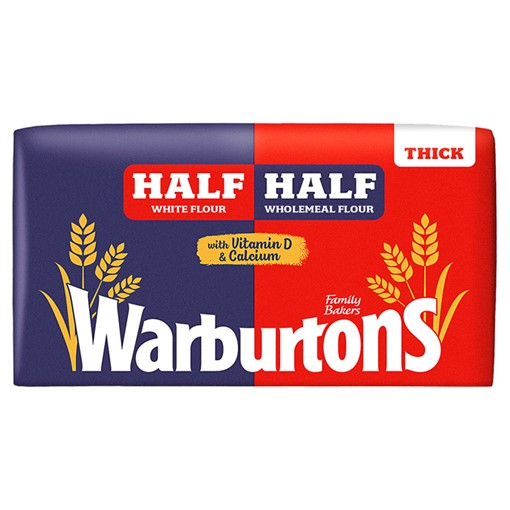Picture of Warburtons Half White Half Wholemeal Thick 800g
