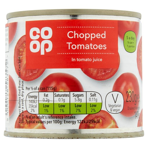 Picture of Co-op Chopped Tomatoes in Tomato Juice 230g