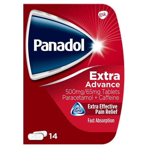 Picture of Panadol Extra Advance Pain Relief Tablets, 500mg Paracetamol Tablets with 65 mg Caffeine, Pack of 14