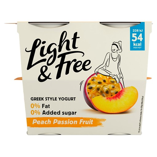 Picture of Light & Free Peach Passion Fruit Greek Style Yogurt 4 x 115g (460g)