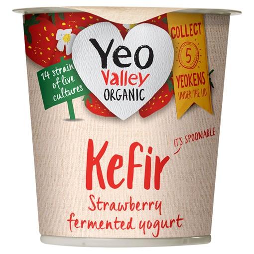 Picture of Yeo Valley Organic Kefir Strawberry Fermented Yogurt 150g