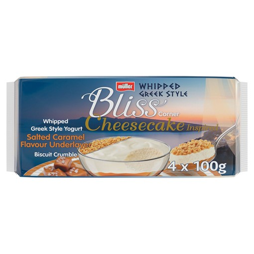 Picture of Muller Corner Bliss Cheesecake Inspired Whipped Greek Style Salted Caramel Yogurt 4 x 100g