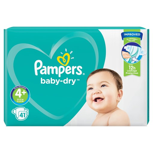 Picture of Pampers Baby-Dry Size 4+, 41 Nappies, 10-15kg, Essential Pack