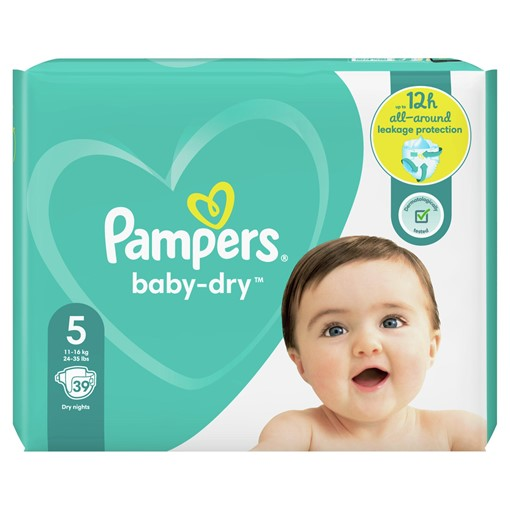 Picture of Pampers Baby-Dry Size 5, 39 Nappies, 11-16kg, Essential Pack