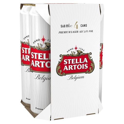 Picture of Stella Artois Belgium Premium Lager Beer Cans 4 x 568ml