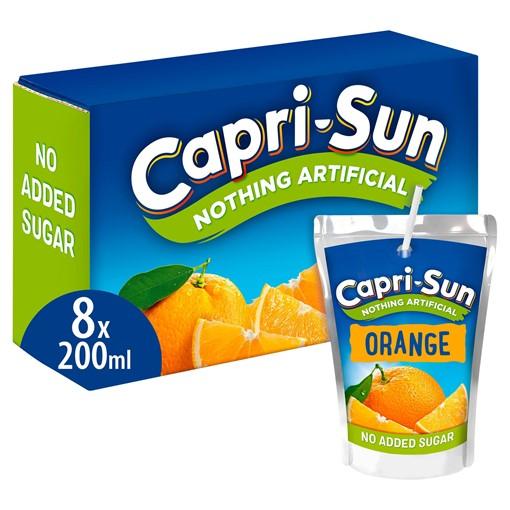 Picture of Capri-Sun Nothing Artificial No Added Sugar Orange 8 x 200ml