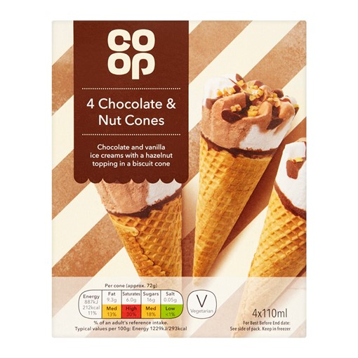 Picture of Co-op Chocolate And Nut Cones 4X110