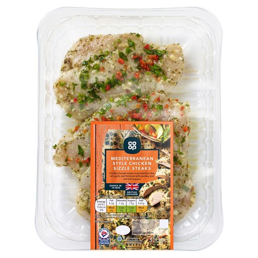 Picture of Co-op Mediterranean Style Chicken Sizzle Steaks 350g