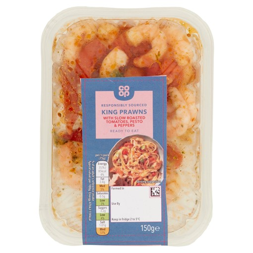 Picture of Co-op King Prawns with Slow Roasted Tomatoes, Pesto & Peppers 150g