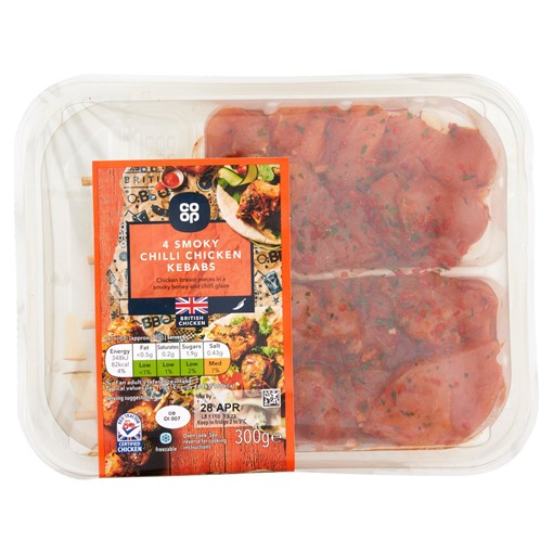 Picture of Co-op 4 Smoky Chilli Chicken Kebabs 300g