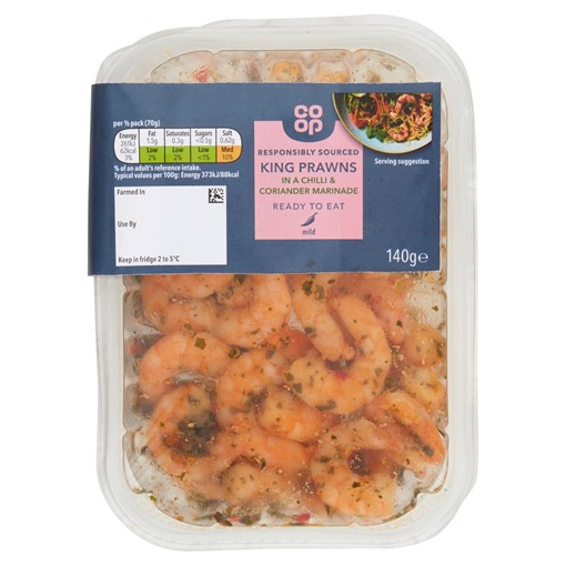 Picture of Co-op King Prawns in a Chilli & Coriander Marinade 140g