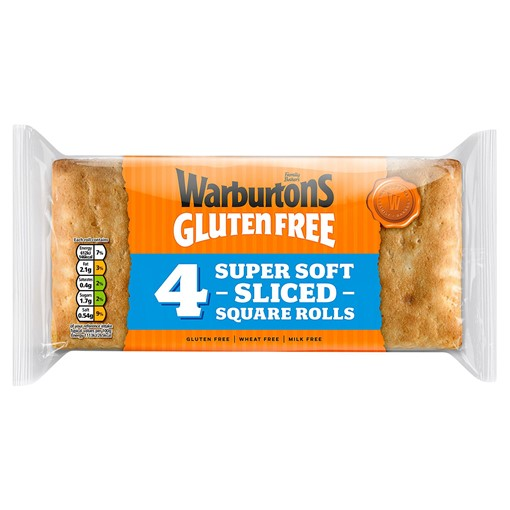 Picture of Warburtons Gluten Free 4 Super Soft Sliced Square Rolls