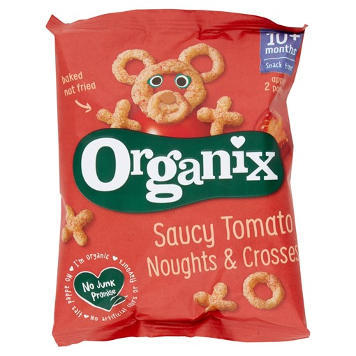 Picture of Organix Tomato Noughts & Crosses Organic Finger Food Toddler Snack Corn Puffs 15g