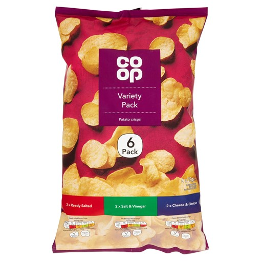 Picture of Co Op Variety Pack Potato Crisps 6 x 25g