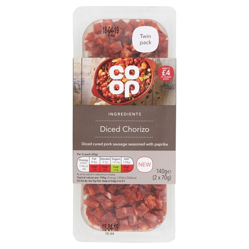 Picture of Co-op Ingredients Diced Chorizo 2 x 70g (140g)