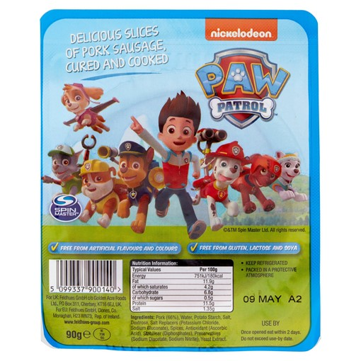 Picture of Paw Patrol Delicious Slices of Pork Sausage Cured and Cooked 90g