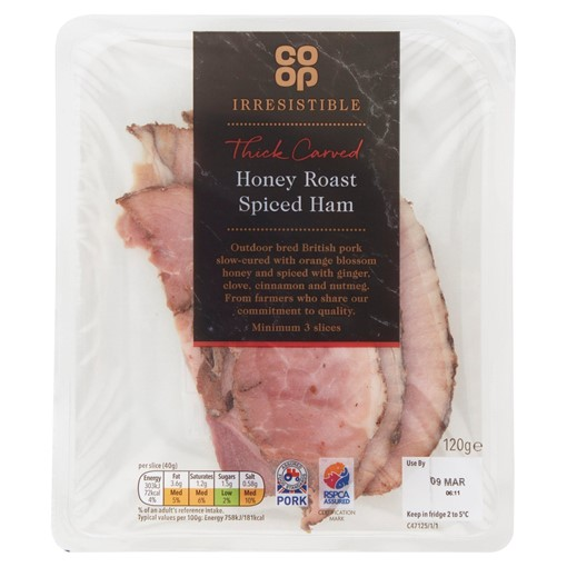 Picture of Co-op Irresistible Thick Carved Honey Roast Spiced Ham 120g