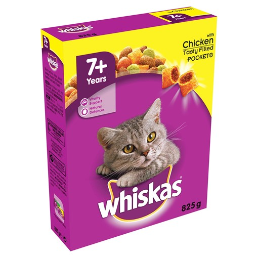 Picture of Whiskas Senior Complete Dry Cat Food Biscuits Chicken 825g