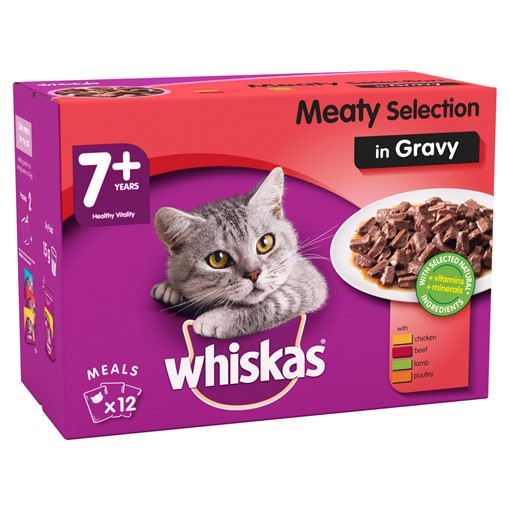 Picture of Whiskas Senior Wet Cat Food Pouches Meaty Selection in Gravy 12 x 100g