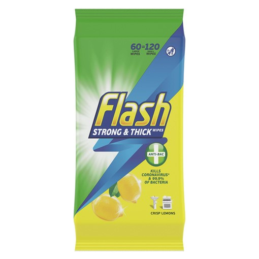 Picture of Flash  Wipes Made of 100% Recycled Fibers Anti-Bacterial 60 Count (60 Large Wipes)