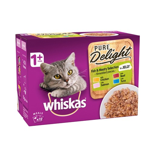 Picture of Whiskas Pure Delight Adult Cat Food Pouches Fish & Meaty in Jelly 12 x 85g