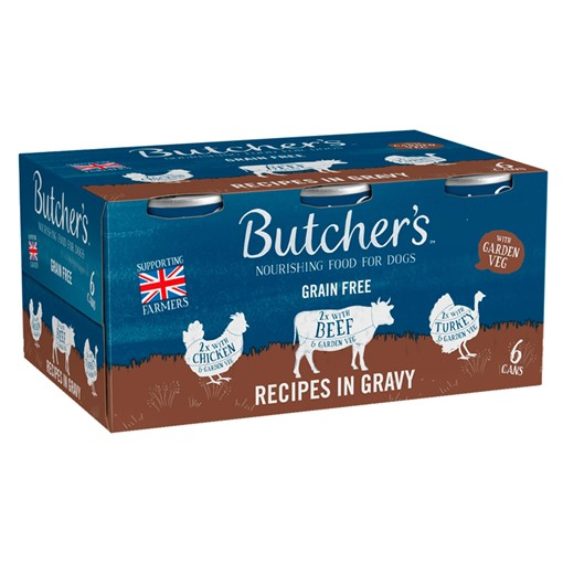 Picture of Butcher's Recipes in Gravy Wet Dog Food Tins 6 x 400g