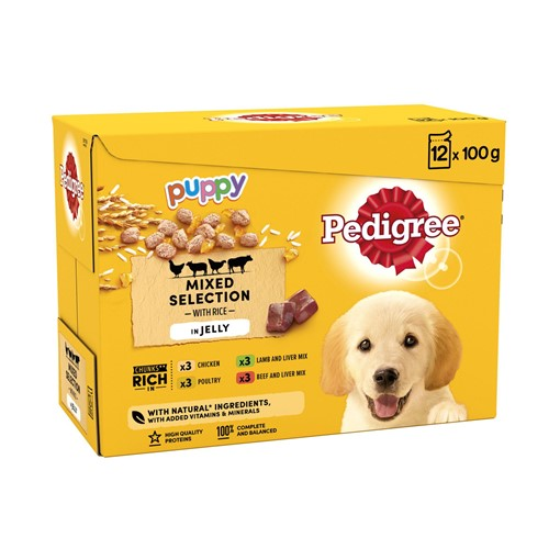 Picture of Pedigree Puppy Wet Dog Food Pouches Mixed in Jelly 12 x 100g