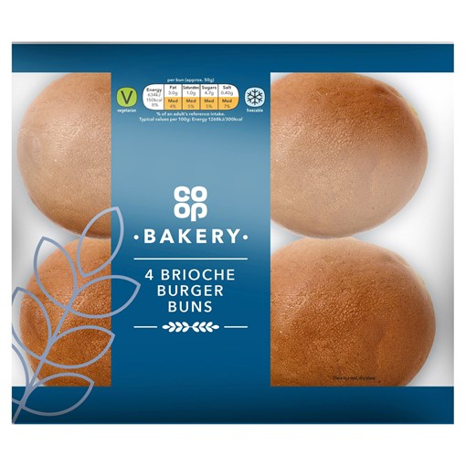 Picture of Co-op Bakery 4 Brioche Burger Buns