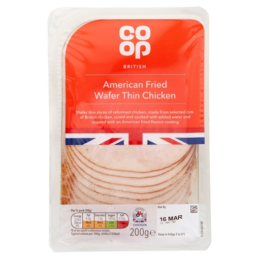 Picture of Co-op British American Fried Wafer Thin Chicken 200g