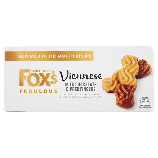 Picture of Fox's Fabulous Viennese Milk Chocolate Dipped Fingers 105g