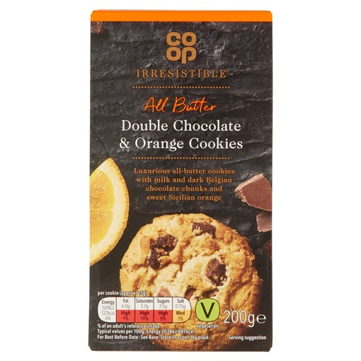 Picture of Co-op Irresistible All Butter Double Chocolate & Orange Cookies 200g