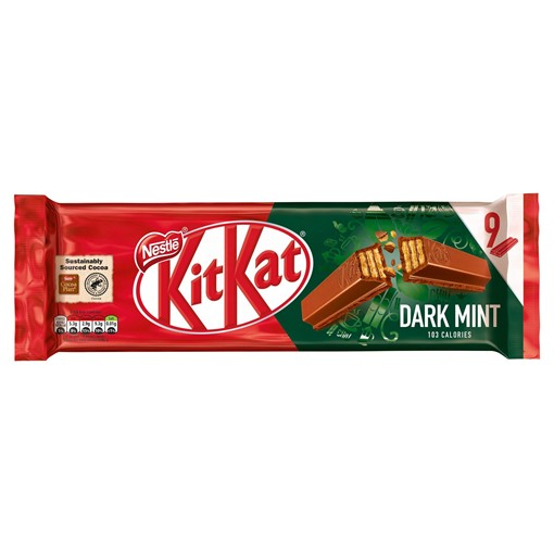Picture of Kit Kat 2 Finger Dark Mint Chocolate Biscuit Bar Multipack 9 Pack