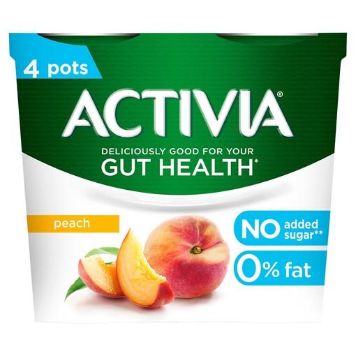 Picture of Activia Peach No Added Sugar Gut Health Yogurt 4 x 115g (460g)