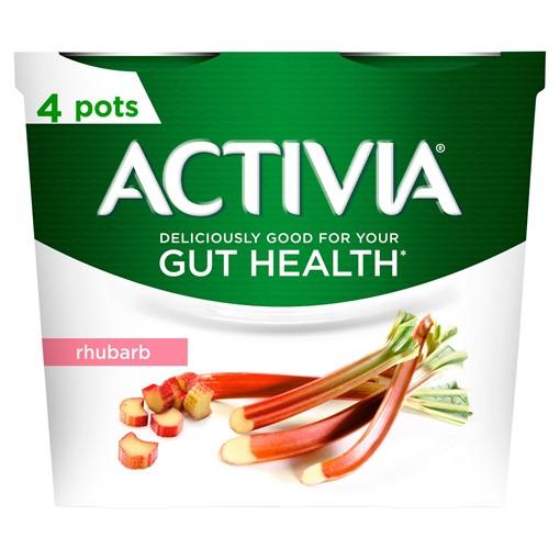 Picture of Activia Rhubarb Gut Health Yogurt 4 x 115g (460g)