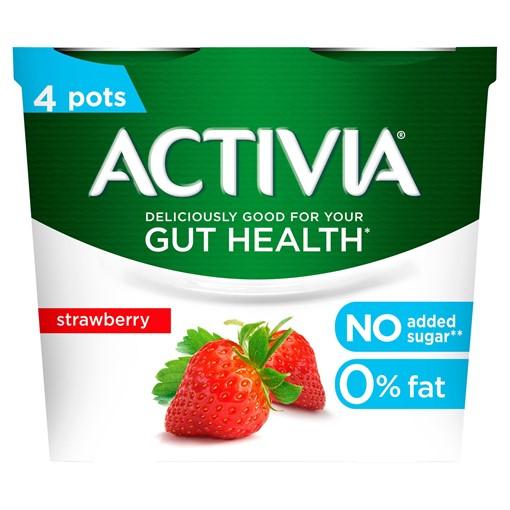 Picture of Activia Strawberry No Added Sugar Gut Health Yogurt 4 x 115g (460g)