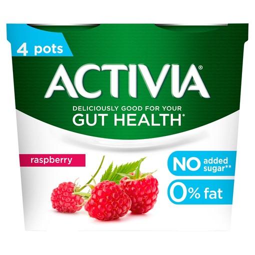 Picture of Activia Raspberry No Added Sugar Gut Health Yogurt 4 x 115g (460g)