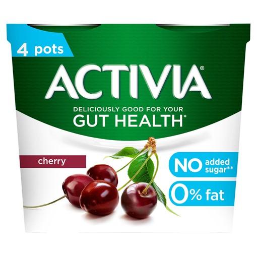 Picture of Activia Cherry No Added Sugar Gut Health Yogurt 4 x 115g (460g)