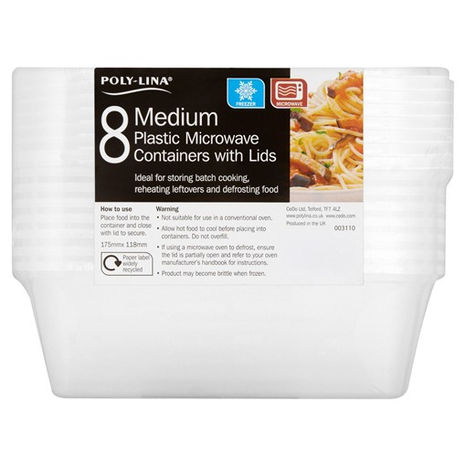 Picture of Poly-Lina 8 Medium Plastic Microwave Containers with Lids